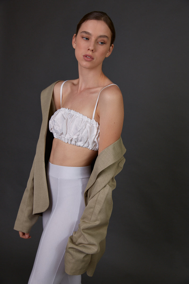 Straight neck crop top White