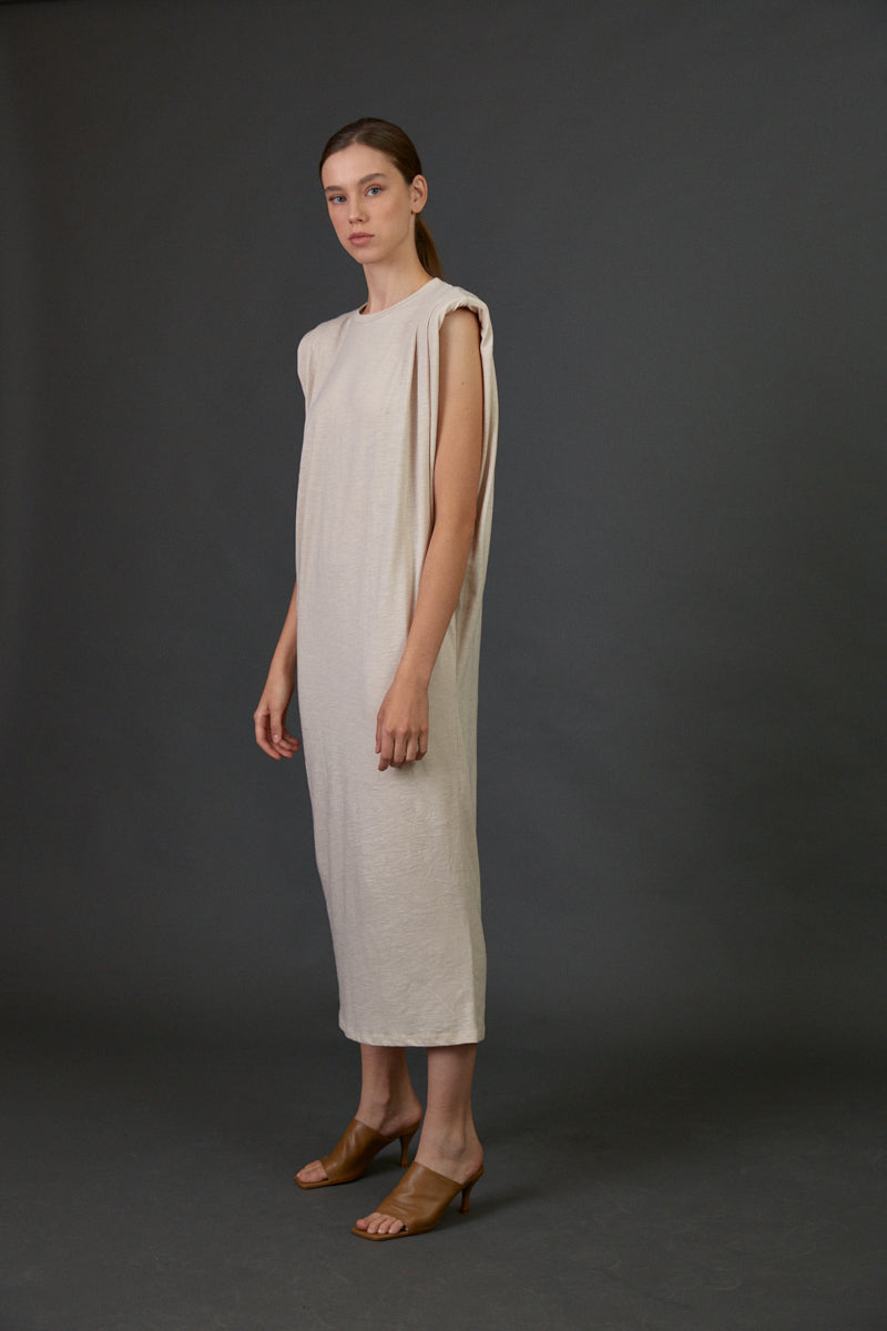 Neutral Padded shoulders sleeveless midi dress