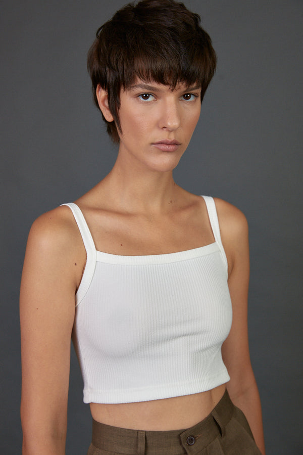 Ribbed straight neck crop top White