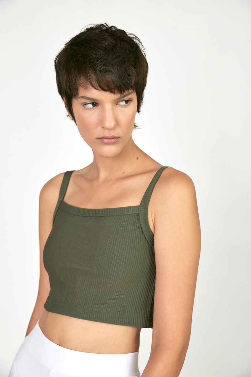 Ribbed straight neck crop top Khaki