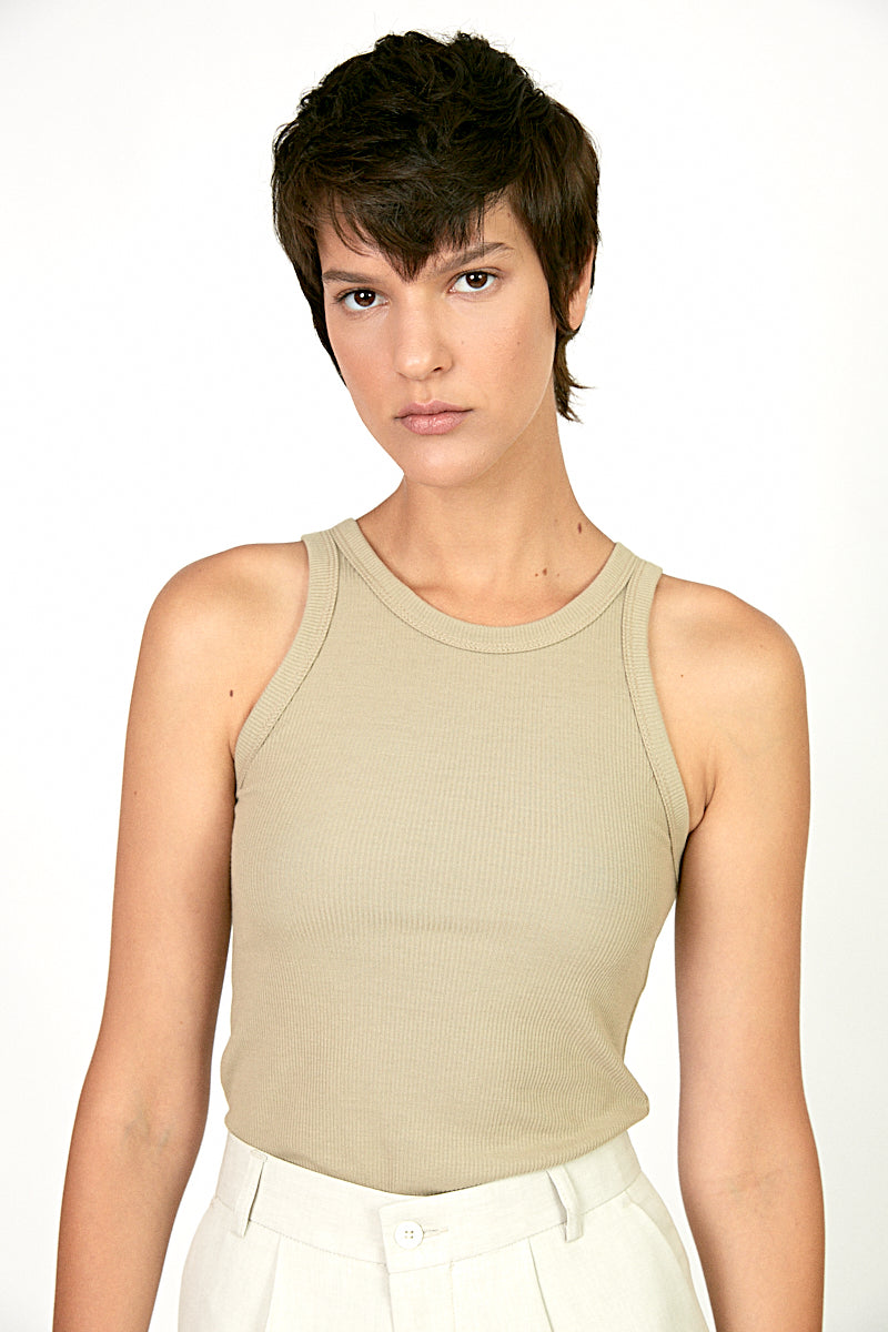Soft ribbed tank top in stone