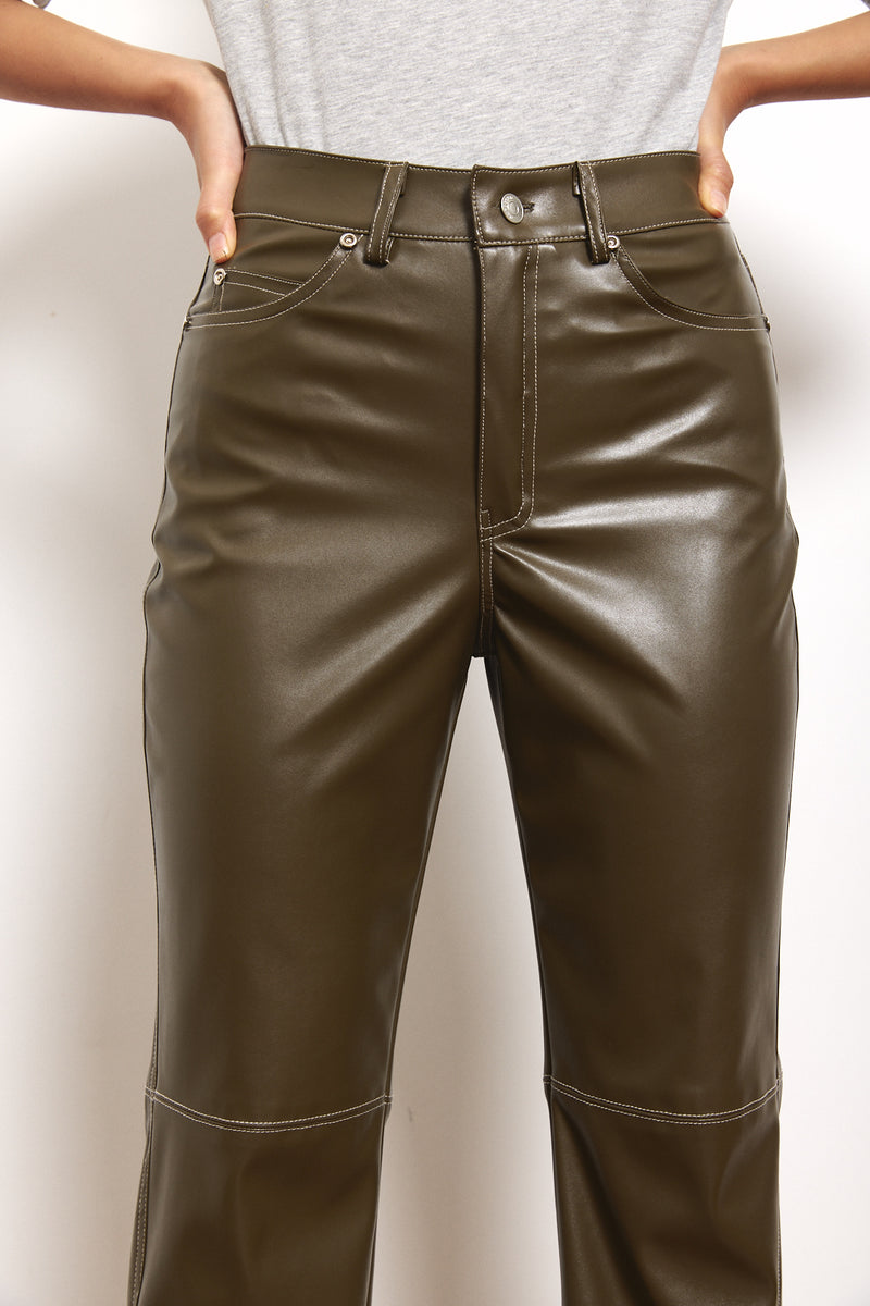 Contrast vegan leather straight leg pants in Olive