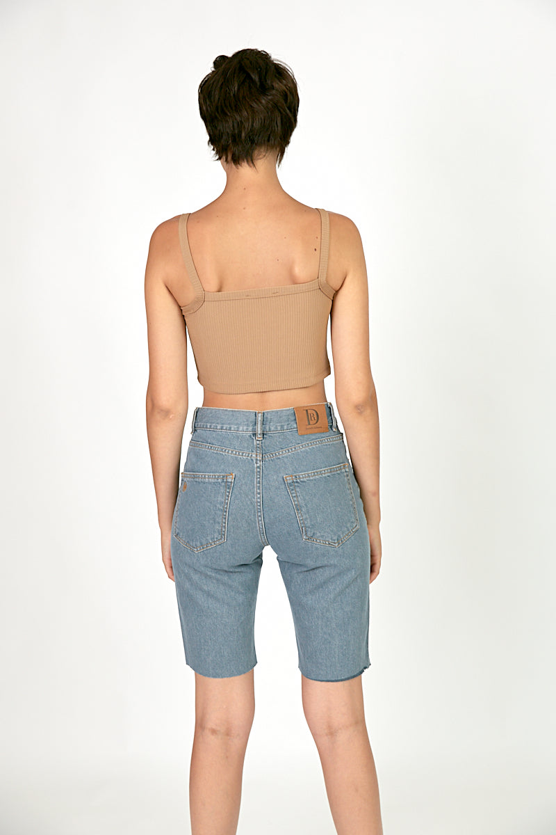 Ribbed straight neck crop top Camel