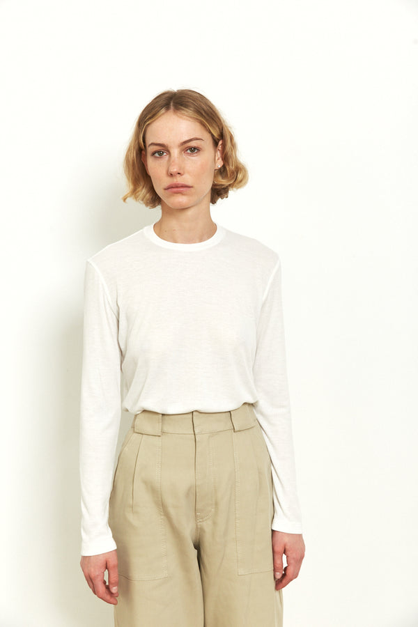 Soft ribbed long sleeves top in Off White