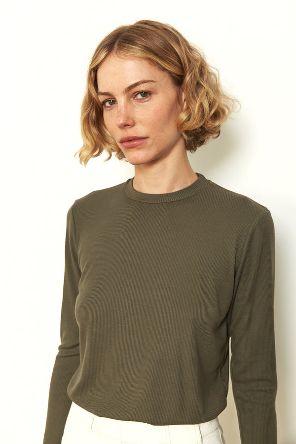 Soft ribbed long sleeves top in Khaki