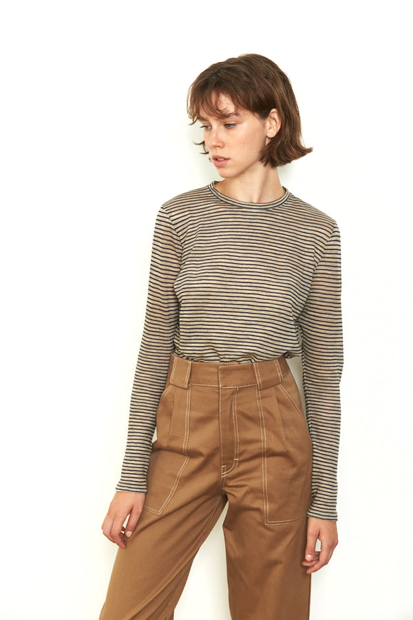 Thin striped shirt in Beige & Navy