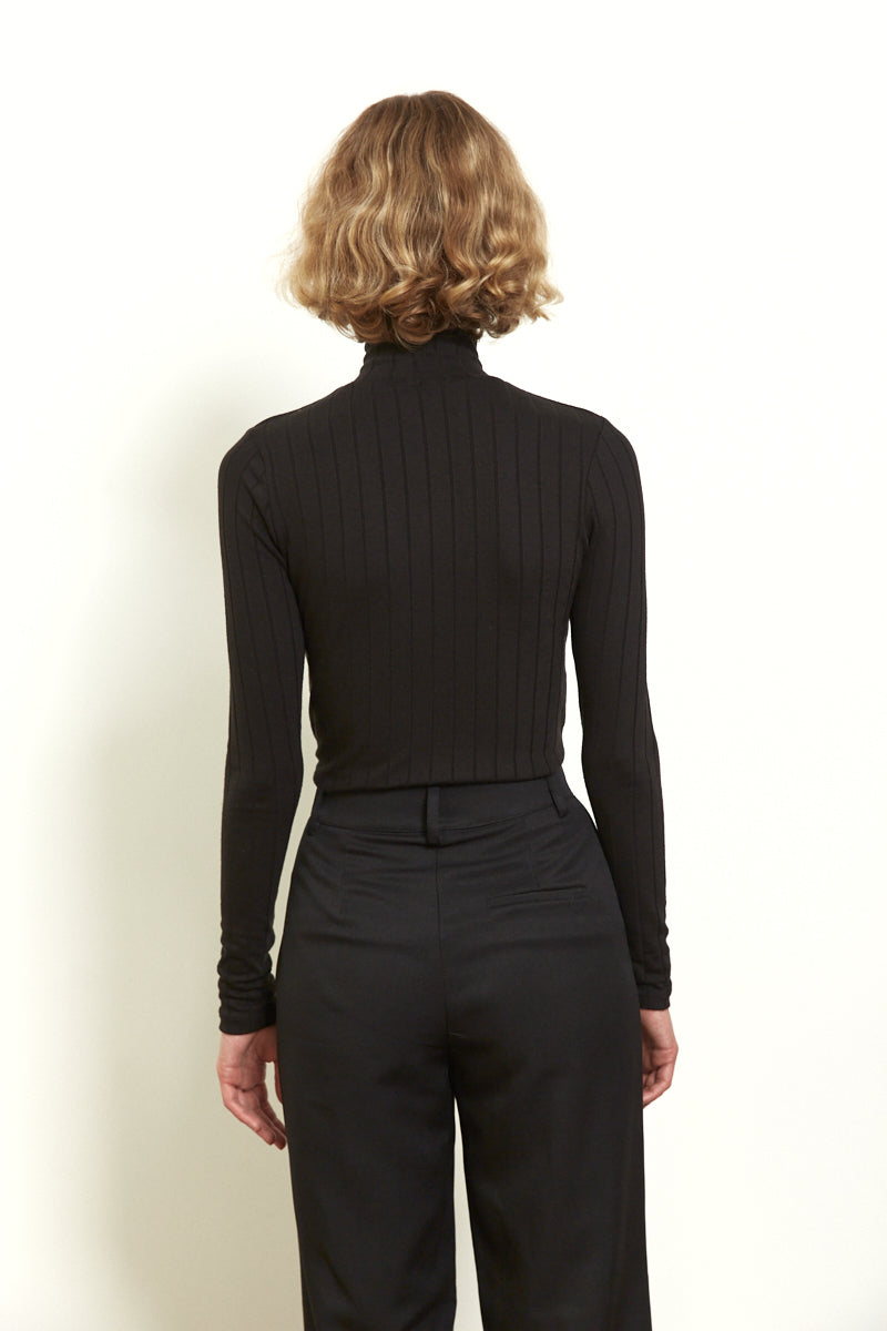 Fitted turtleneck top in Black