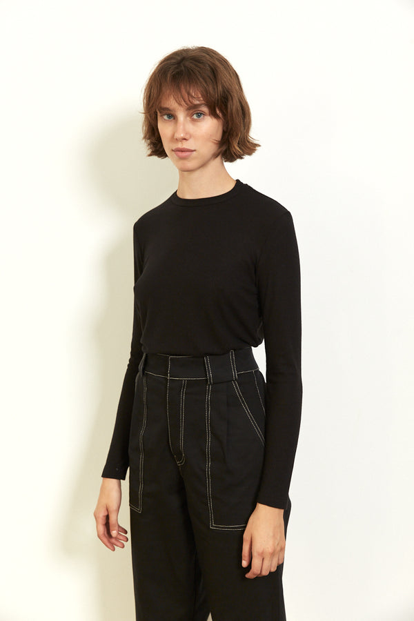 Soft ribbed long sleeves top in Black