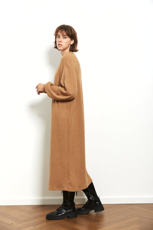 Knit oversized dress in Camel