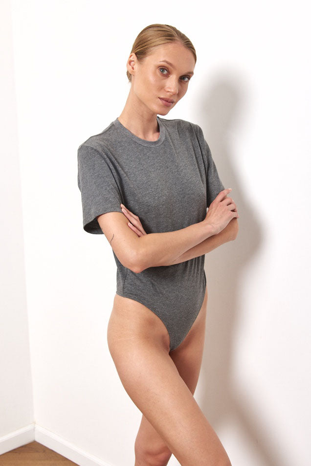 T shirt bodysuit in Dark Grey
