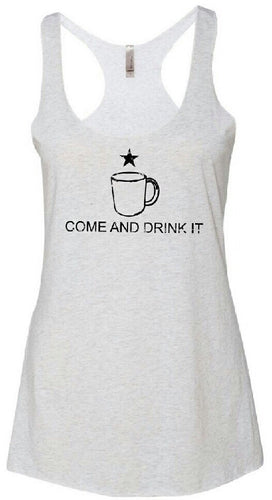 Come and Drink It Heather White Womens Tank