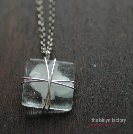 Fused ghost glass wire wrapped pendant with antique silver chain and crystal signature finish