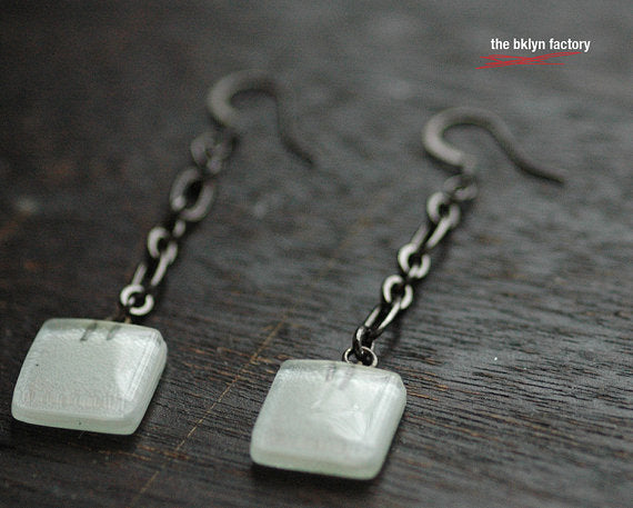 square drop white fused glass earrings