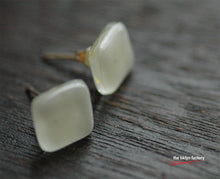 White fused glass sterling silver post earrings