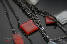 "Fused glass rhombus necklace w/18"" gun metal black chain & signature red metal tag finish"