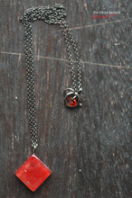 Fused glass rhombus necklace (small) with gun metal black chain & signature tag finish