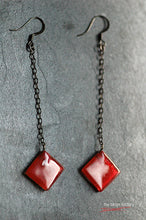Red rhombus fused glass drop earrings