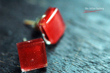 Red fused glass sterling silver post earrings