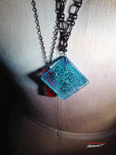 Aqua oxide fused glass necklace 28 inch black metal chain plus 2 inch extender