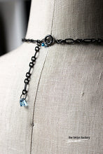 "Aqua oxide fused glass necklace - 28"" gun metal chain plus 2"" extender"