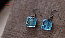 Blue oxide fused glass earrings with gunmetal french wire hooks