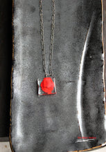"Red ghost glass mini pendant with 16"" - 18"" antique silver chain with crystal signature finish"