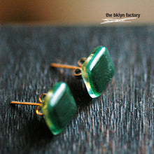 Deep forest green fused glass sterling silver post earrings