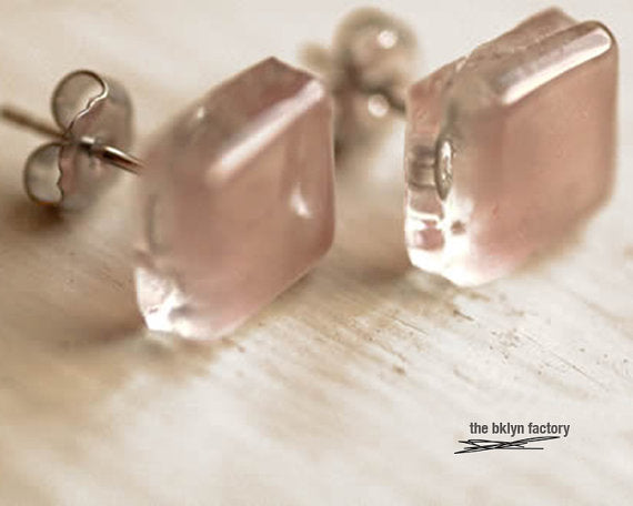 Soft pink fused glass sterling silver post earrings