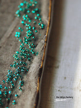 Dark teal turquoise glass beaded hand crocheted layered choker necklace w/ silver sequin finish