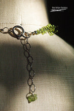 Spring green glass beaded hand crocheted layered choker necklace with peridot chip finish