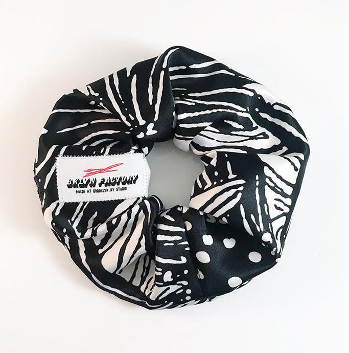 Black Daisy Hair Scrunchie