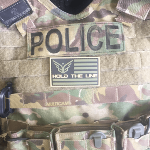 Hold The Line Flag morale patch - Blue Grit