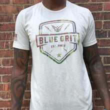 """Angel Of The Night"" T-Shirt - Oatmeal tri-blend - Blue Grit"