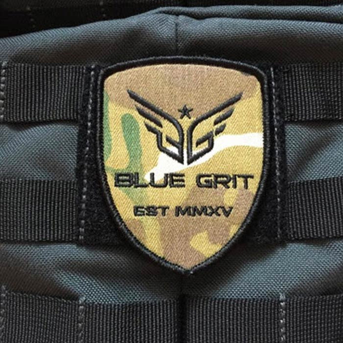 Blue Grit Camouflage Shield Patch - Blue Grit