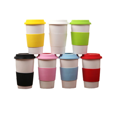301-400ML Porcelain Drinking Mug Ceramic Pint Cup Vacuum Travel Coffee Mug with Silicone Sleeve
