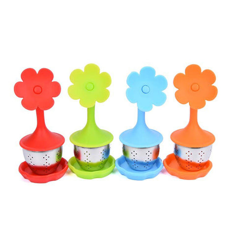 4PCS Premium Silicone and Stainless Steel Flower Tea Infuser Fine Mesh Tea Balls Tea Strainers with Drip Tray