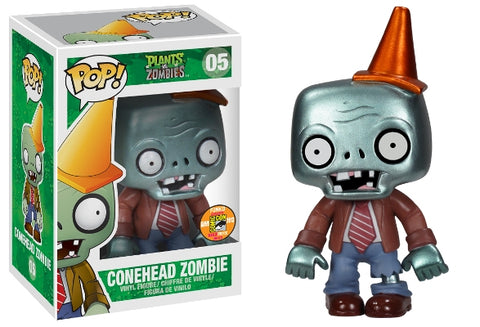 Funko Pop Games Plants vs. Zombies - Conehead Zombie (Metallic