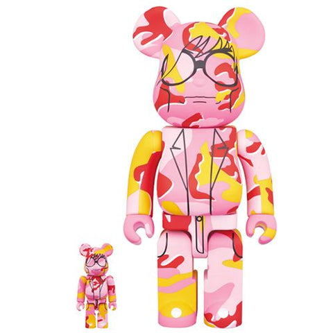 Bearbrick Andy Warhol 100% and 400% Camouflage Pattern Set Figures