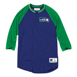Mitchell & Ness NFL Seattle Seahawks 4-Button Henley