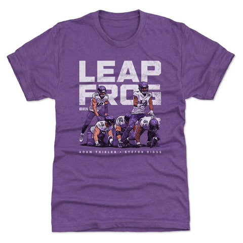 500 Level Adam Thielen and Stefon Diggs Leap Frog Touchdown Celebration Heather Purple Premium Tee