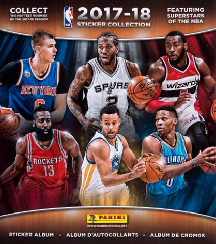 Panini NBA 2017-18 Stickers - 5 Packs of Stickers and Album
