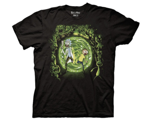 Rick and Morty Portal and the Monsters Black T-Shirt