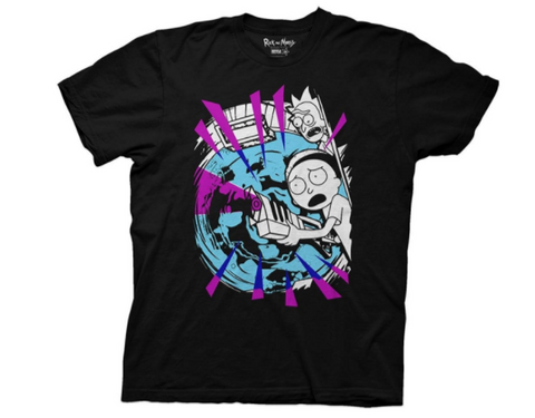 Rick and Morty with Portal and Gun Black T-Shirt