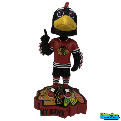 NHL Chicago Blackhawks Mascot Tommy Hawk Logo Base Bobblehead