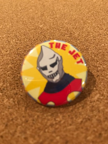 Jet Jaguar Pin Back Button
