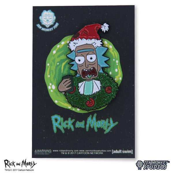 Rick and Morty Drunken Holiday Rick with Wreath Pin