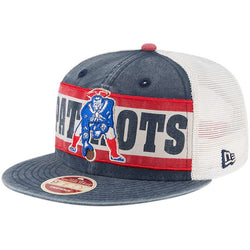 New Era New England Patriots Royal/Natural Vintage Stripe Throwback Redux 9FIFTY Adjustable Hat