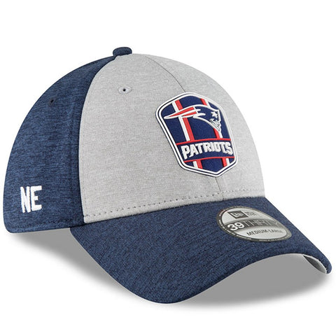 New England Patriots New Era 2018 NFL Sideline Road Official 39THIRTY Flex Hat – Heather Gray/Navy