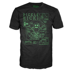 Funko Pop Tees Rick and Morty Pickle Rick Blueprint Black Pop! T-Shirt