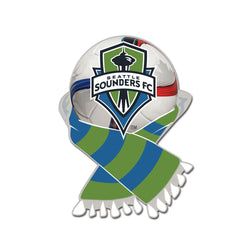 MLS Seattle Sounders Scarf and Ball Enamel Pin